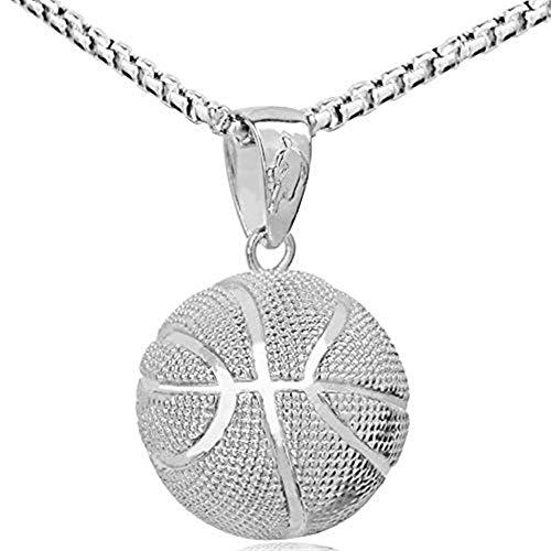HMOOY Mode Männer Basketball Anhänger Halskette Edelstahl Kette Sport Männer Basketball Liebhaber Fans Anhänger Halskette Fitness Hip Hop Schmuck (Silver)