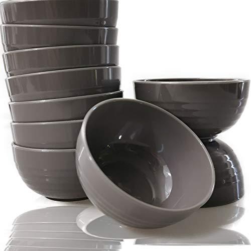 Kerafactum Schälchen Tapasschalen Design Optik | Nacho Dipp Schalen Dipschale Dippschälchen für Sushi Soja Saucen | Snackschale Dip Schale für Stäbchen Tapas Schüssel Soßenschale | 10 x Gray