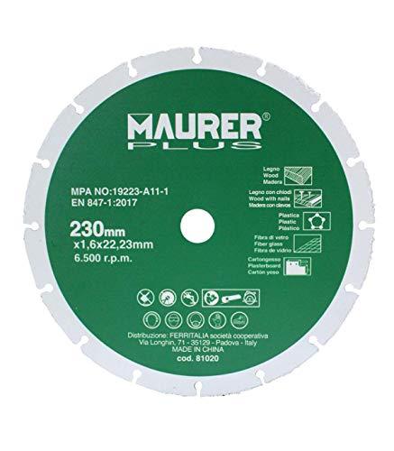 MAURER 7020165 Disco De Corte para Madera y Plasticos Ø 230 x 1,6 mm