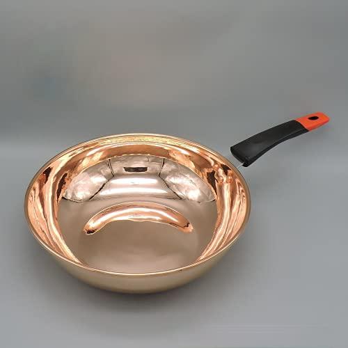 wok in rame, carbone elettromagnetico a gas, wok in rame puro, wok da chef 32 cm (induzione di 32 cm)