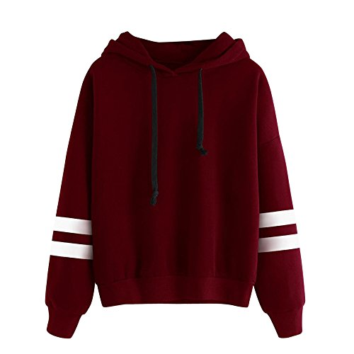 Leey Damen Pullover Streifen Casual Mädchen Kapuzenpullover Hoodie Sweatshirt Hoodies Elegant Kleidung Pullis Sweatshirt Streetwear Winterpullover Hip Hop Coole Klamotten (S, Rot)