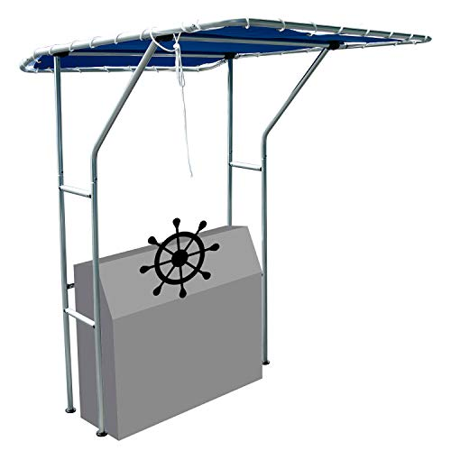 """DasMarine Heavy Duty Boat T Top Standard Center Console Boat T Top,1.25"""" Brushed Anodized Aluminum Tubing, Blue Canopy, Canopy Fits Center Consoles up to 55 inches Wide,Marine Grade, UV Resist"""
