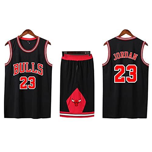QJJ Adultos Y Niños Michael Jordan Retro Basketball Jersey, Chicago Bulls 23# Swingman Basketball Uniform Suit, Equipo De Competición Kits De Ropa Deportiva para Estudi Jordan D-M