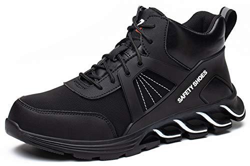 SUADEX オシャレ安全靴ハイカット あんぜん靴ブーツ 黒白 作業靴 ミドルカットショートブーツ 安全 作業はいカット 安全半長靴 鋼先芯 耐摩耗 ケブラー防刺 耐滑