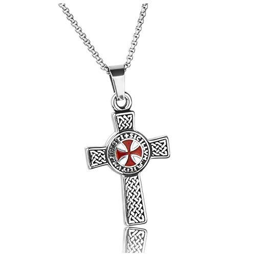 PiercingJak Cruz latina de acero inoxidable, collar de cruz celta retro, colgante de cruz de maltés, con cadena de 24 pulgadas, estilo punk motero, para regalo