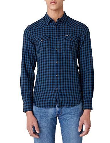 Wrangler LS Western Shirt Camisa, Azul Oscuro, M para Hombre
