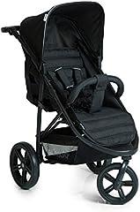 Hauck Rapid 3 - silla de paseo de 3 ruedas con posiciones en respaldo, plegado compacto, plegando con solo una mano, manillar regulable, desde nacimiento hasta 25kg, caviar black (negro)