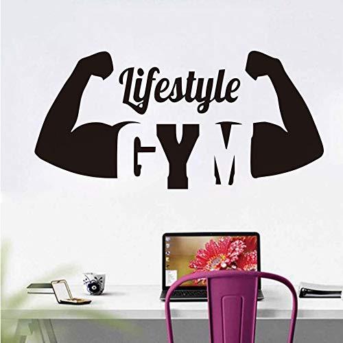 Estilo de Vida Deportivo Fitness Pegatinas de Pared Cita Vinilo extraíble Fitness Muscular Decorativo Impermeable Pegatinas Deportivas para la Vida del Dormitorio
