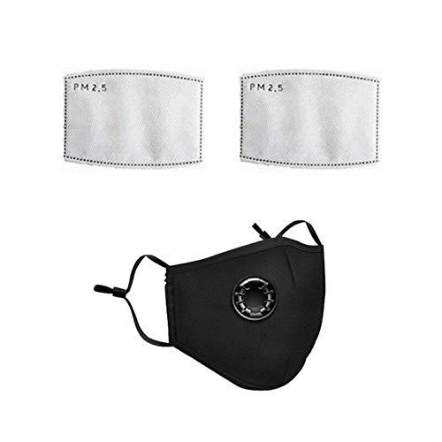 Nyyi Mondmasker, herbruikbaar, stofdicht gezichtsmasker met ademventielen, fietsmaskers voor mannen en vrouwen Zwart,Met 2 filters