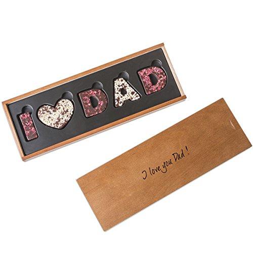 I love Dad - Zartbitterschokolade - Schokoladenbuchstaben | I ❤️ Dad | Vatertag | Geburtstag | Vater Geschenk | Vatertagsgeschenk | Geschenkidee | Geschenke für Papa | Schoko | Schokolade | Vati