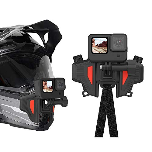 AuyKoo Soporte para casco de moto con correa Flodable frontal para GoPro Hero 9 8 7 6 5 DJI Osmo Action Insta360 accesorios