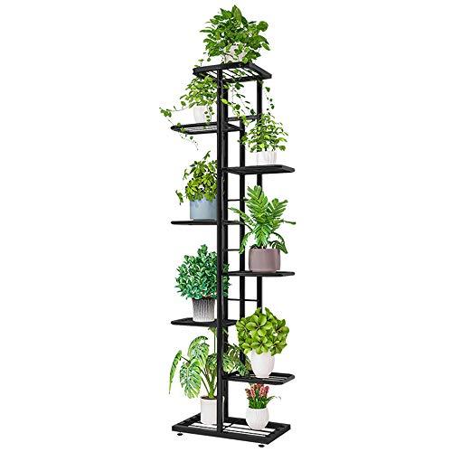 IBEQUEM Blumentreppe Metall, Blumenständer Metall mit 8 Ablagen, Pflanzenständer aus Metall für draußen, blumenregal für innen Balkon Wohzimmer