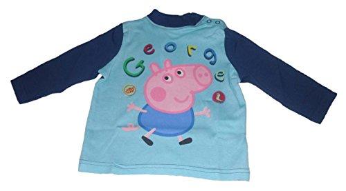 George Pig - Camiseta de Manga Larga - para bebé niño Azul Navy Trim