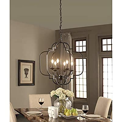 Saint Mossi 6-Lights Metal Chandelier Lighting Black Painted 23 inches Length 26 inches Height