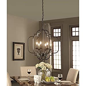 """Saint Mossi Black Farmhouse Chandelier with 6 Lights,Lantern Metal Pendant Lighting for Dining Room,Living Room,Kitchen,Foyer,W23""""x H26"""" with Adjustable Chain"""