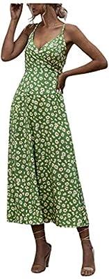 POINWER Damen V-Ausschnitt Sommerkleid
