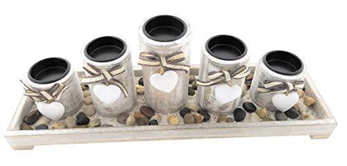 MC Trend - 5 portavelas en bandeja de madera con piedras decorativas,...