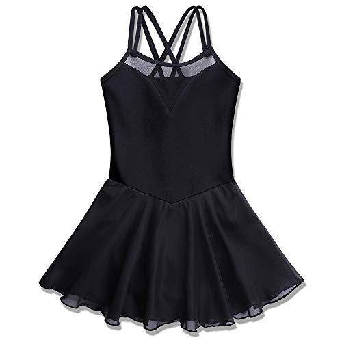BAOHULU Girl's Ballet Dance Leotards Camisole Tutu Skirted Dress Ballerina Dancewear B186_Black_M