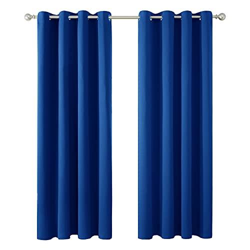 Amazon Brand – Umi Cortinas Salón Opacas Térmicas Aislantes Frío y Calor para Ventanas Suaves con Ojales 2 Paneles 117x183cm Azul Oscuro