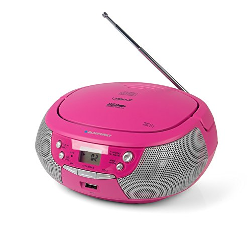 Blaupunkt B 4 PLL Kinder CD Spieler mit UKW PLL Radio, CD-Player, USB-Anschluss, AUX IN, Stereo-Lautsprecher, Netz- und Batterie-Betrieb, Kinder Musikbox in Pink