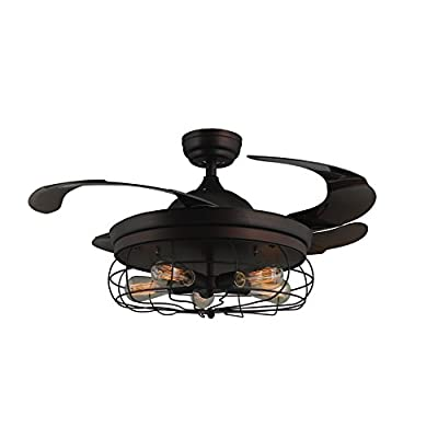 """45"""" Industrial Edison Bulbs Ceiling Fans Wire Caged Acrylic Retractable Blades Dimmable and Remote Control, Matte Black Finish"""