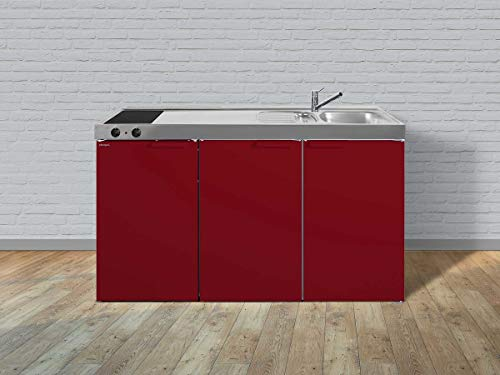 Stengel Miniküche Kitchenline MK 150 kleine Küchenzeile mit Kühlschrank und Kochfeld, Pantryküche, Kompaktküche - Farbe: bordeauxrot/Breite: 150cm