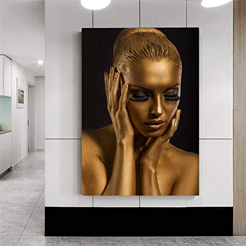 ganlanshu Rahmenlose MalereiGoldene Afrikanerin Malt Plakate und Drucke auf Leinwand30X45cm