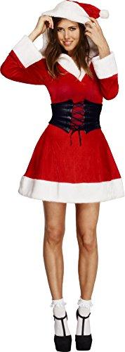 Smiffys-36988M Disfraz Fever de Mamá Noel, Vestido con Capucha y Enagua adjunta, Color Rojo, M-EU Tamaño 40-42 (Smiffy'S 36988M)