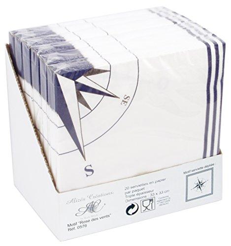 Générique 576 Serviette Papier Rose des Vents Blanc/Bleu Présentoir de 6 Paquets de 20 Serviettes 33x33 cm