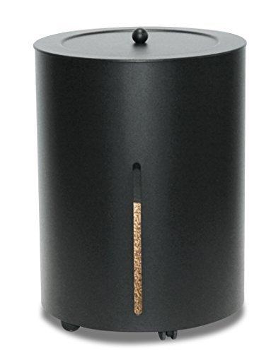 Pelletskorb mit Rollen schwarz beschichtet ø 38cm Höhe 50cm mit Rollen