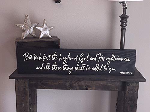 DKISEE Wooden 'Maar zoek eerst het Koninkrijk.' Teken - Dankbare Liefde Familie Rustieke Decor Boerderij Stijl Houten