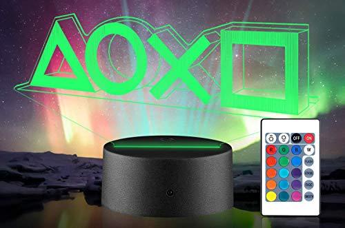 Jugador regalo 3D ilusión noche luz 16 multicolores USB cambiante lámpara de mesa LED PS4 Gamer decoración luz con control remoto para niños Navidad Halloween cumpleaños