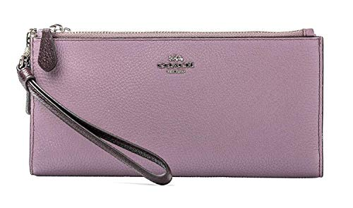 Coach Double Zip Wallet Colorblock Jasmine pink Burgundy leather New