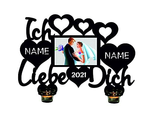 LEON - FOLIEN  - Portavelas con texto en alemán 'Ich Liebe Dich Herzen con marco de fotos - Personalizable con el nombre y el año deseado, prueba de amor - Regalo para ella