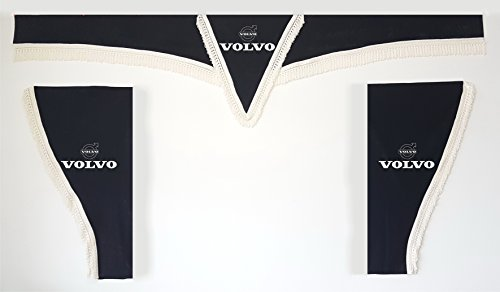 Lot de 3 rideaux noirs avec bandes blanches, taille universelle, convient à tous les modèles de camion, accessoires de décoration, avec tissu peluche.
