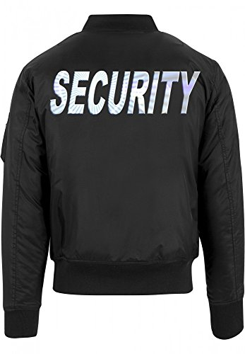 Coole-Fun-T-Shirts Security - Bomber Jacke - reflektierende Folie schwarz Gr.M
