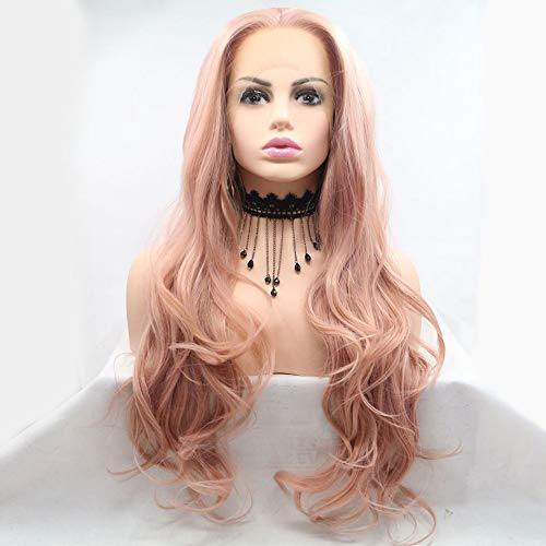 Xiweiya Wigs Peach Red Long Body Wave Wig Rose Pink Synthetic Lace Front...