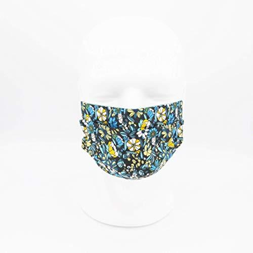 Waschbare Mundmaske aus 100% Baumwollgewebe - Grüne Blumen - Dreifache Dicke