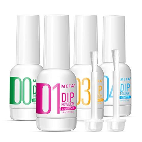 MEFA 4pcs Dip Powder Gel Liquid Set with Activator, Base, Top, Brush Saver 0.5oz, Dipping Powder Acrylic Nail Manicure Pedicure Step1-4, Air Dry Nail Art Decoration Manicuring