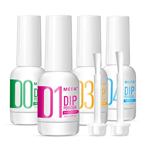 MEFA 4pcs Dip Powder Gel Liquid Set with Activator,Base,Top,Brush Saver 0.5oz, Dipping Powder Acrylic Nail Manicure Pedicure Step1-4, Natural Dry Nail Art Decoration Manicuring
