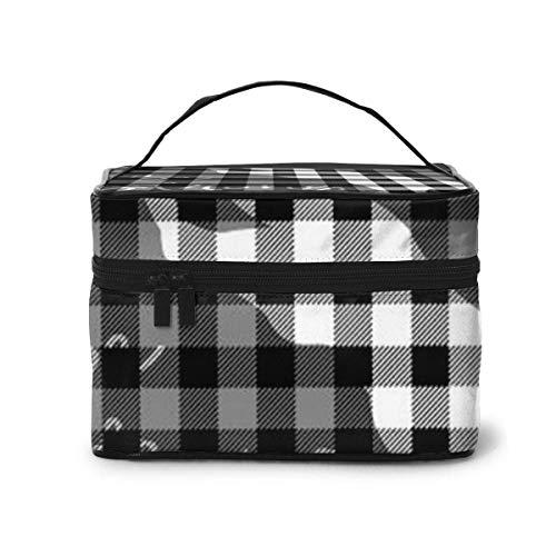 Buffalo Plaid Bear Noir Gris Voyage cosmétique Organisateur Sac de Rangement Portable, Sacs de Toilette Multifonction