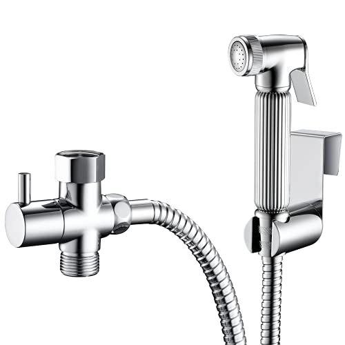 All Metal Handheld Bidet Sprayer for Toilet, Chrome   Universal T-Valve Adapter Attachment   Perfect Toilet Paper Substitute   Leak Free, DIY Installation, Built to Last with Stainless Steel and Brass