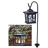 esto24® LED Solar Laterne Vintage incl. Metallstange zum Aufhängen Kerze mit Flammeneffekt und 4 Solarzellen mit Dämmerungsautomatik für Terrasse, Garten oder Wegbeleuchtung Deko (Schwarz)