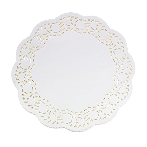 LJY 100 Pieces White Lace Round Paper Doilies Cake Packaging Pads Wedding Tableware Decoration (13.5 Inch)