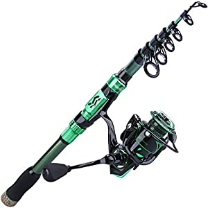Sougayilang Fishing Rod Reel Combos,Portable Telescopic Fishing Pole Spinning reels for Travel Saltwater Freshwater Fishing(Green1.8m/5.89ft-2000)