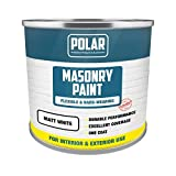 Polar Masonry Emulsion Paint for Multi-Purpose Use 500ml, Matt White for Interior and Exterior Walls and Ceilings, Durable Performance - Matt White, 500ml