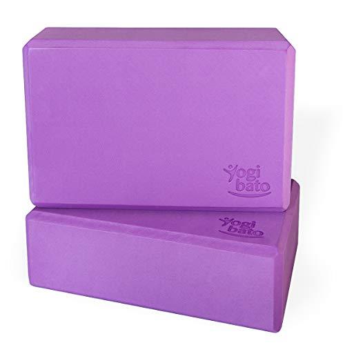 Yogibato Yoga Block Set di 2 - Blocchi di Eva Materia plastica espansa - Yoga Blocco Pacco Doppio - Yogablock Stabile & Antiscivolo per Meditazione Pilates Joga Fitness - 2 Pezzi – Viola