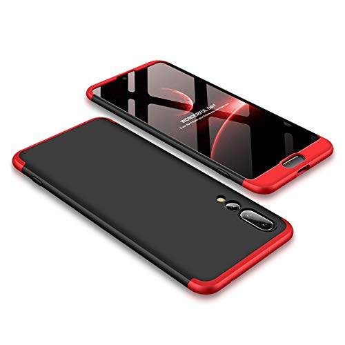 Funda Huawei P20 Pro,Carcasa Huawei P20 Pro,Funda 360 Grados Integral Para Ambas Caras+Cristal Templado,[360°] 3 in 1 Slim Fit Dactilares Protectora Skin Caso Carcasa cover Rojo+Negro