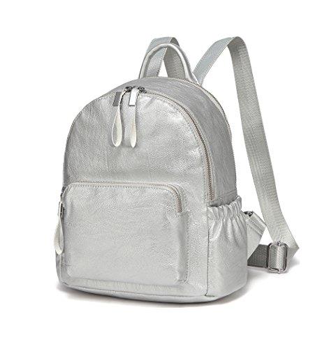 VASCHY Mini Rucksack Damen, Pu Leder Klein Rucksack Mädchen Mode Schultasche Elegant Casual Daypack for Reise Einkaufen Student Teenager Silber