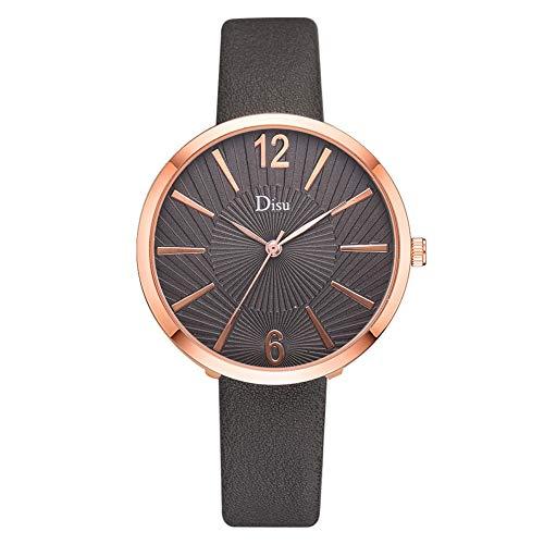 WLH Reloj De Aleación Personalizado Cinturón De Cuero Artificial Reloj De Pulsera De Cuarzo Elegante para Mujer Gris